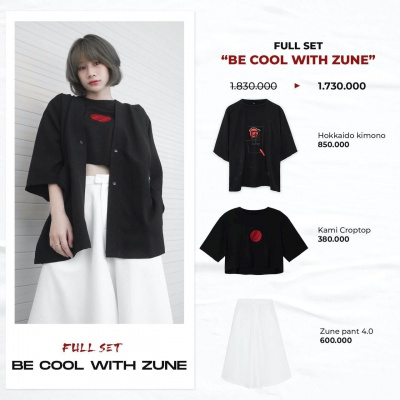 "Full set ""BE COOL WITH ZUNE"" (Hokkaido Kimono - Kami Croptop - Zune Pant 4.0)"