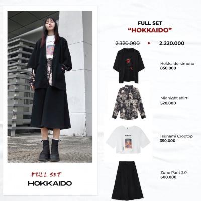 """Full set """"HOKKAIDO""""  (Hokkaido Kimono - Midnight Shirt - Tsunami Croptop - Zune Pant 2.0)"""