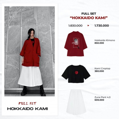 "Full set ""Hokkaido Kami""  (Hokkaido Kimono - Kami Croptop - Zune Pant 4.0)"