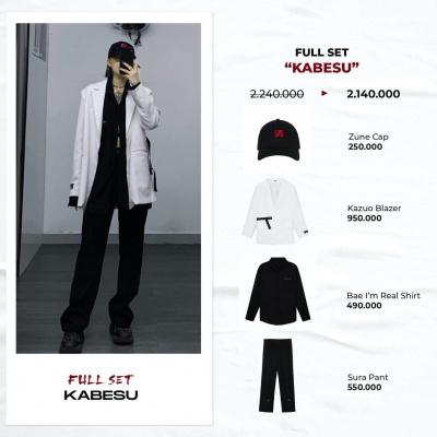 "Full set ""KABESU"" ( Zune Cap - Kazuo Blazer - Bae I'm Real Shirt - Sura Pant)"