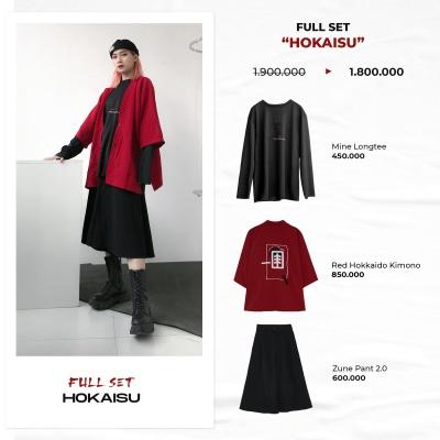 "FULL SET ""HOKAISU"" ( 'Mine' LongTee - Red Hokkaido Kimono - Zune Pant 2.0 )"