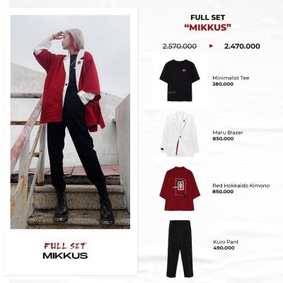 "FULL SET ""MIKKUS"" (Minimalist Tee - Maru Blazer - Red Hokkaido Kimono - Kuro Pant)"