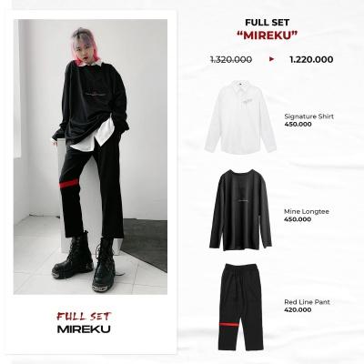 "FULL SET ""MIREKU"" ( Signature Shirt - 'Mine' LongTee - Red Line Pant )"