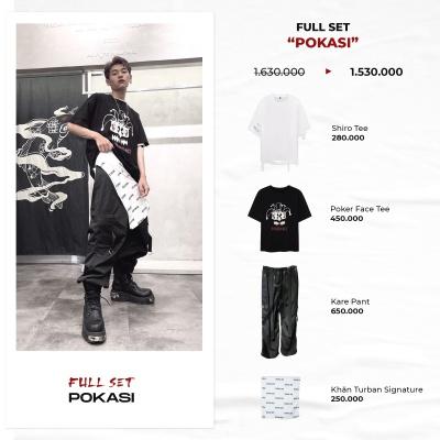 "FULL SET ""POKASI"" ( Shiro Tee - Poker Face Tee - Kare Pant - Turban Signature )"